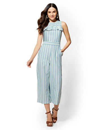 Striped Ruffled Jumpsuit by New York & Company