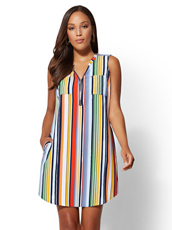 Striped V Neck Zip Front Shift Dress by New York & Company