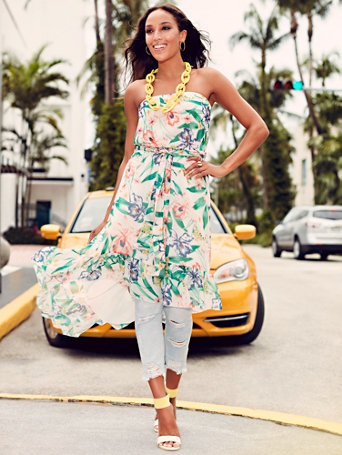 Sweet Pea   Floral Strapless Dress by New York & Company
