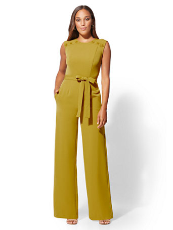 818d6016b208 Shoptagr | Tall Button Accent Jumpsuit by New York & Company