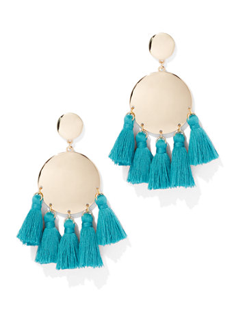 Tassel Accent Disc Drop Earring by New York & Company