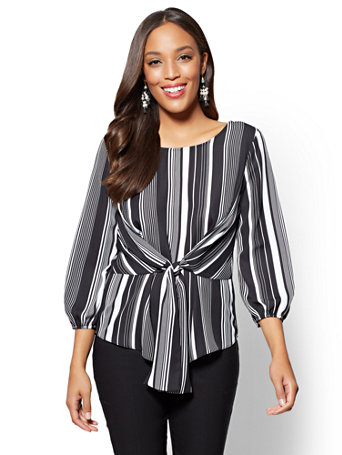 Tie Detail Blouse   Stripe by New York & Company