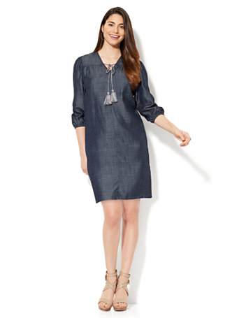 Ny c tie front shift dress ultra soft chambray dark for Chambray 7 s