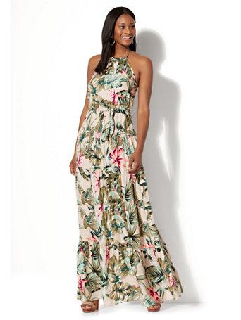 NY&C: Tiered Halter Maxi Dress - Tropical Print