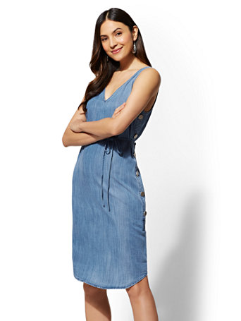 Ultra Soft Chambray Shift Dress by New York & Company