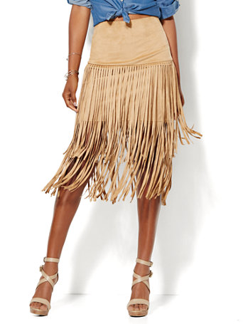 NY&C: Ultra-Suede Fringe Skirt