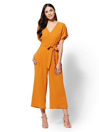 V Neck Culotte Jumpsuit by New York & Company