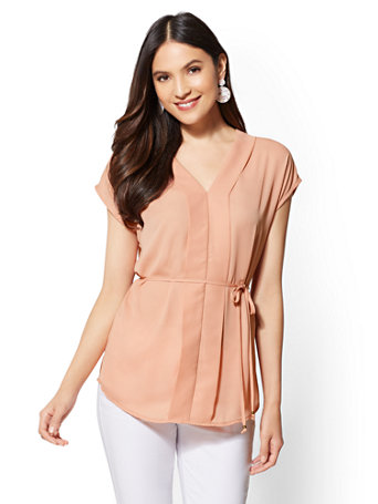 V Neck Placket Blouse by New York & Company