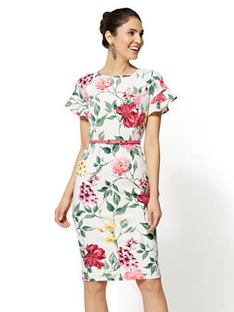 White Floral Ruffled Sheath Dress by New York & Company