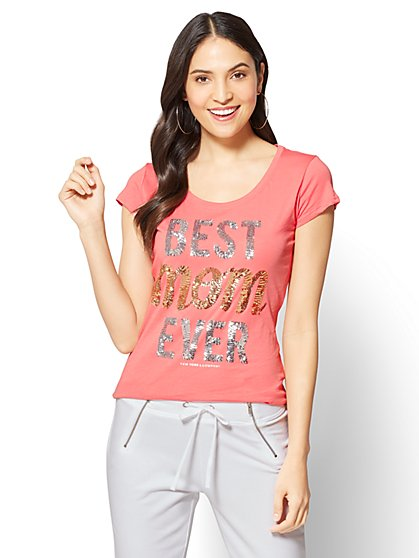 """Best Mom Ever"" Graphic Logo Tee - New York & Company"