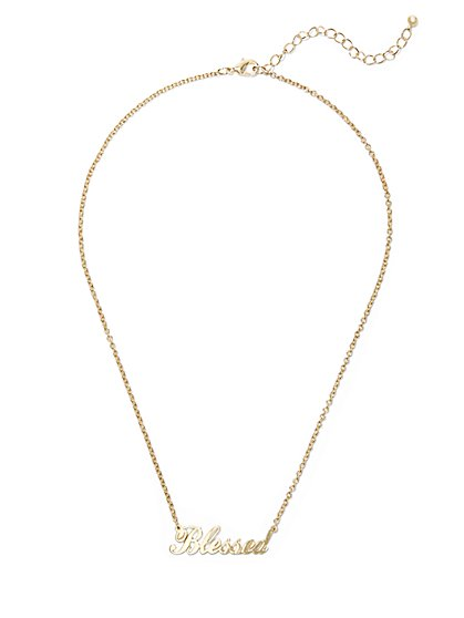 """Blessed"" Message Necklace  - New York & Company"