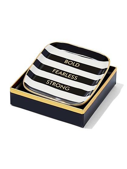 """Bold, Fearless, Strong"" Striped Trinket Tray  - New York & Company"