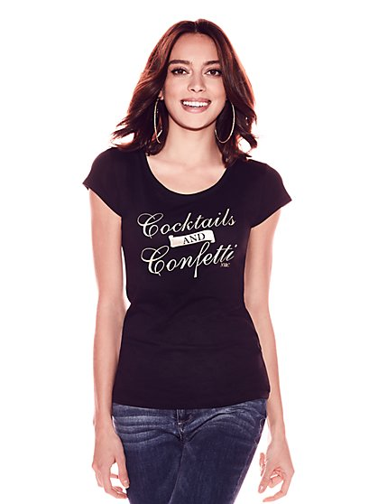 """Cocktails and Confetti"" Graphic Logo Tee - New York & Company"