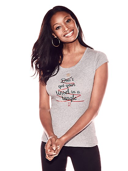 """Don't Get Your Tinsel in a Tangle"" Graphic Logo Tee - New York & Company"