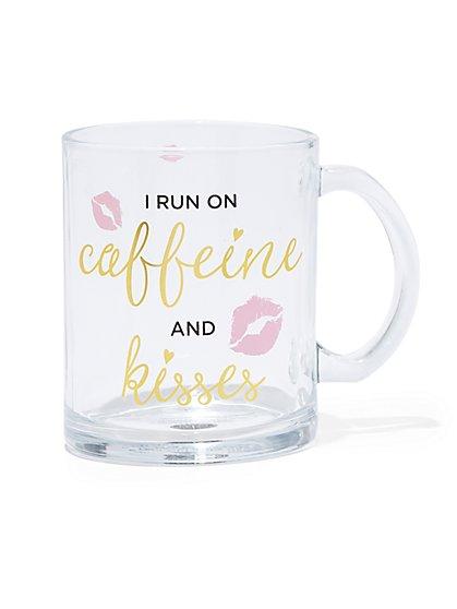 """I Run On Caffeine & Kisses"" Glass Mug - New York & Company"