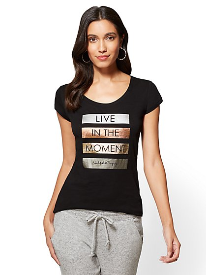 """Live in the Moment"" Graphic Logo Tee - New York & Company"