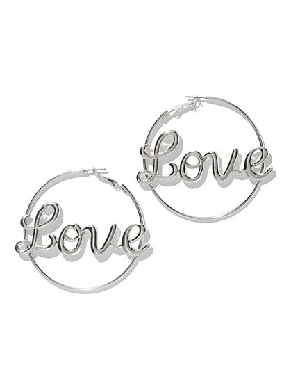 """Love"" Hoop Earring - New York & Company"