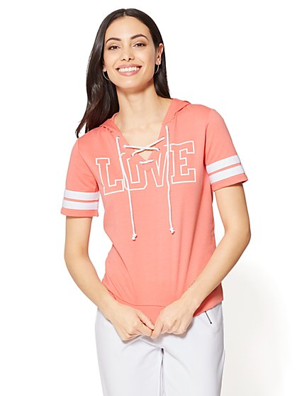 """""""Love"""" Lace-Up Hoodie - New York & Company"""