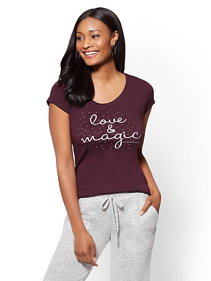 """Love & Magic"" Graphic Logo Tee - New York & Company"