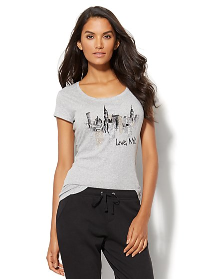 """Love, NYC"" Glittering Graphic Tee  - New York & Company"