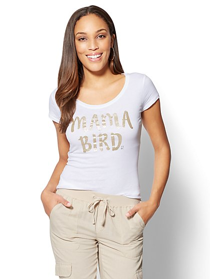 """Mama Bird"" Graphic Logo Tee - New York & Company"