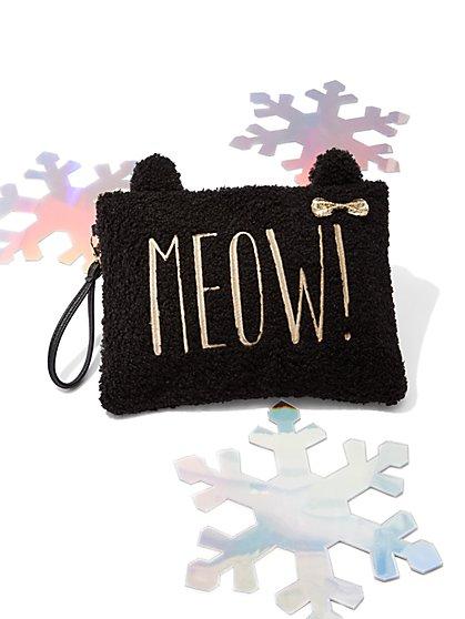 """""""Meow"""" Faux-Fur Wristlet - New York & Company"""