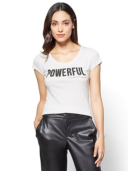 """Powerful"" Graphic Logo Tee  - New York & Company"
