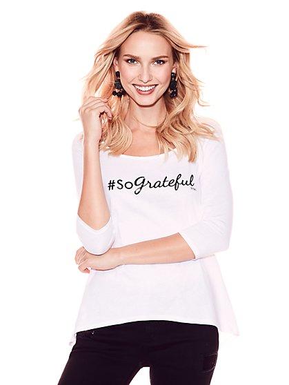 """So Grateful"" Metallic-Foil Graphic Logo Tee - New York & Company"