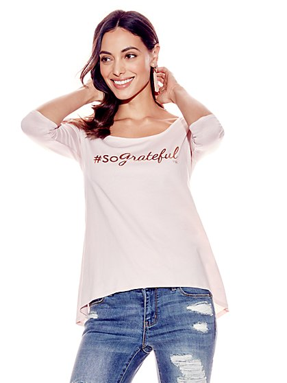 """So Grateful"" Metallic-Foil Graphic Logo Tee - New York & Company"