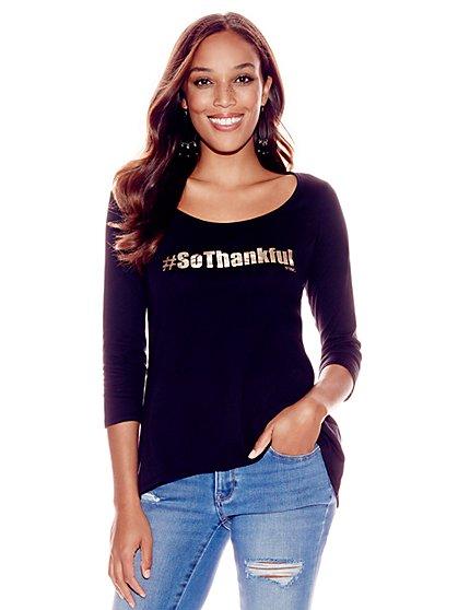 """So Thankful"" Metallic-Foil Graphic Logo Tee - New York & Company"