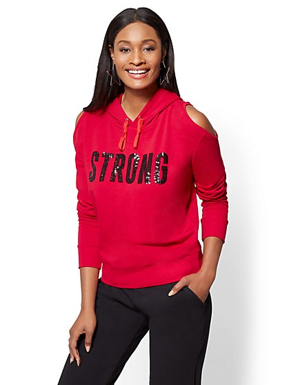 """Strong"" Cold-Shoulder Hooded Sweatshirt - New York & Company"