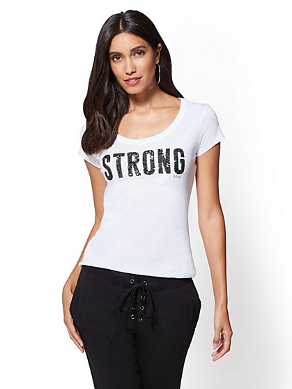 """Strong"" Graphic Logo Tee - New York & Company"
