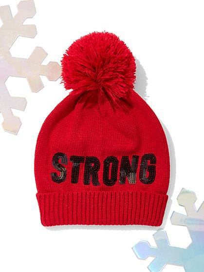 """Strong"" Pom-Pom Hat - New York & Company"