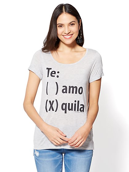 """Te: () amo (x) quila"" Graphic Logo Tee - New York & Company"
