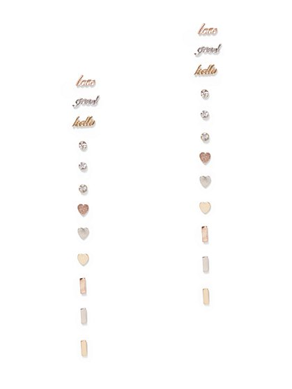 12-Piece Message Post Earring Set - New York & Company