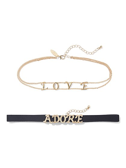 "2-Piece ""Adore"" & ""Love"" Choker Set  - New York & Company"