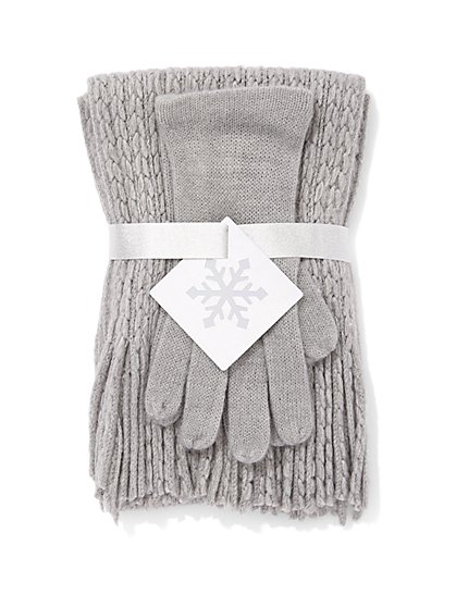 2-Piece Cable-Knit Metallic Scarf & Gloves Set - New York & Company