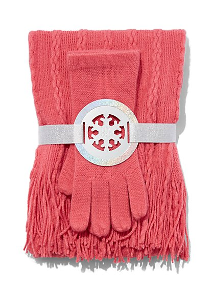 2-Piece Cable-Knit Scarf & Gloves Set  - New York & Company