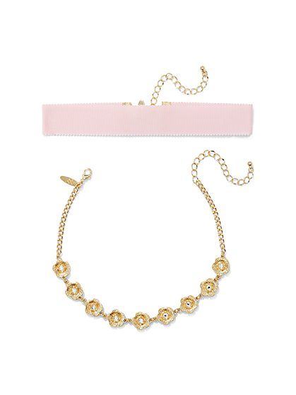 2-Piece Floral Choker Necklace Set  - New York & Company