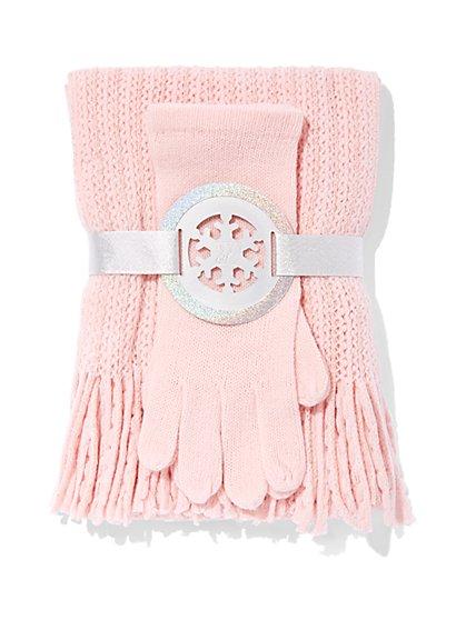 2-Piece Honeycomb Scarf & Gloves Set - New York & Company