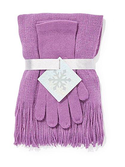 2-Piece Metallic Scarf & Gloves Gift Set - New York & Company