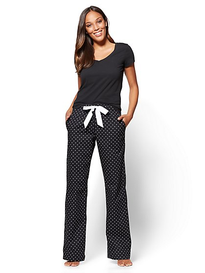 2-Piece Pajama Set - Black  - New York & Company