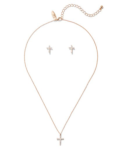 2-Piece Pave Cross Earrings & Necklace Set - New York & Company