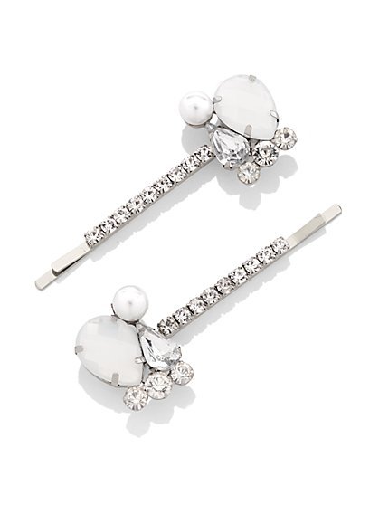 2-Piece Silvertone Bobby Pin Set / 3-Piece Hair Clip Set - New York & Company