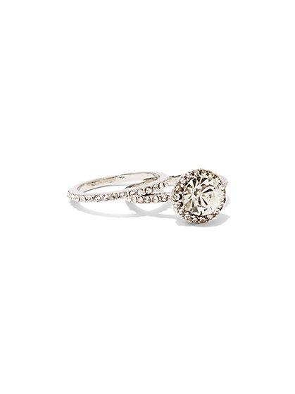 2-Piece Silvertone Ring Set - New York & Company