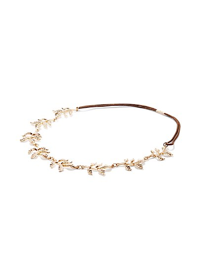 2-Piece Sparkling Bobby Pin Set / Sparkling Leaf Headband - New York & Company