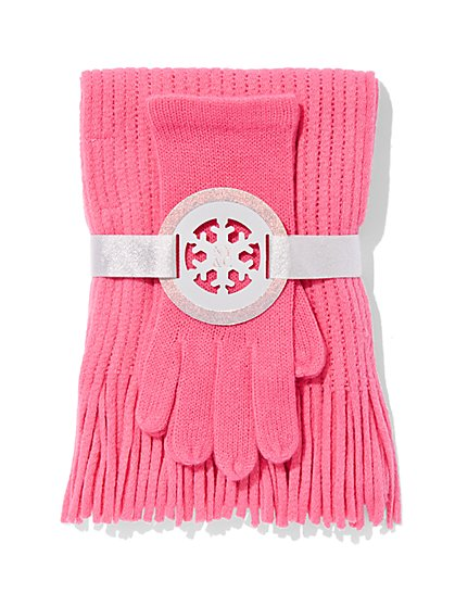 2-Piece Textured Scarf & Gloves Set - New York & Company