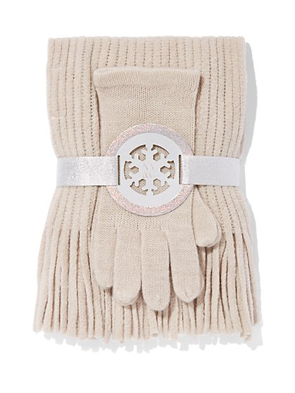 2-Piece Textured Scarf & Gloves Set - New York & Company