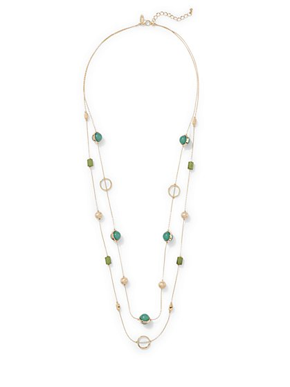 2-Row Beaded Station Necklace  - New York & Company