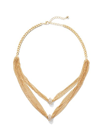 2-Row Layered Mesh Necklace  - New York & Company